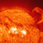 Une protubérance solaire par SOHO