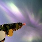 Aurore en couronne au-dessus de la Norvège