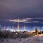 Piliers de lumi�re sur l'Alaska