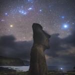 Orion sur une statue de l'île de Pâques