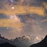 Mont Blanc, météore et Voie Lactée