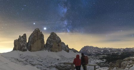 Saturne et Jupiter sur les 3 cimes de Lavaredo