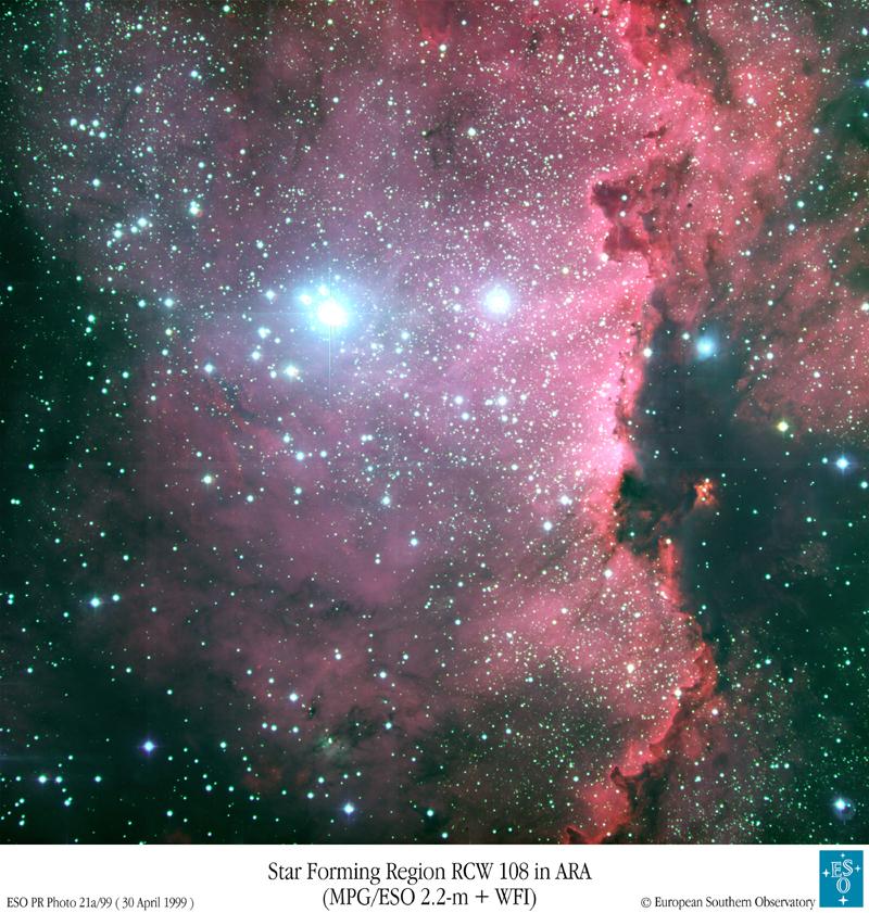 Des étoiles chaudes dans le sud de la Voie Lactée