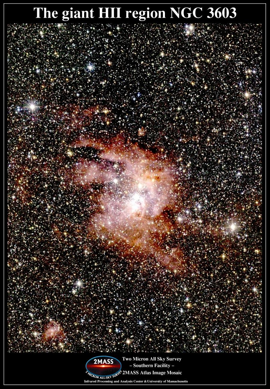 La nébuleuse géante par émission NGC3603 en infrarouge