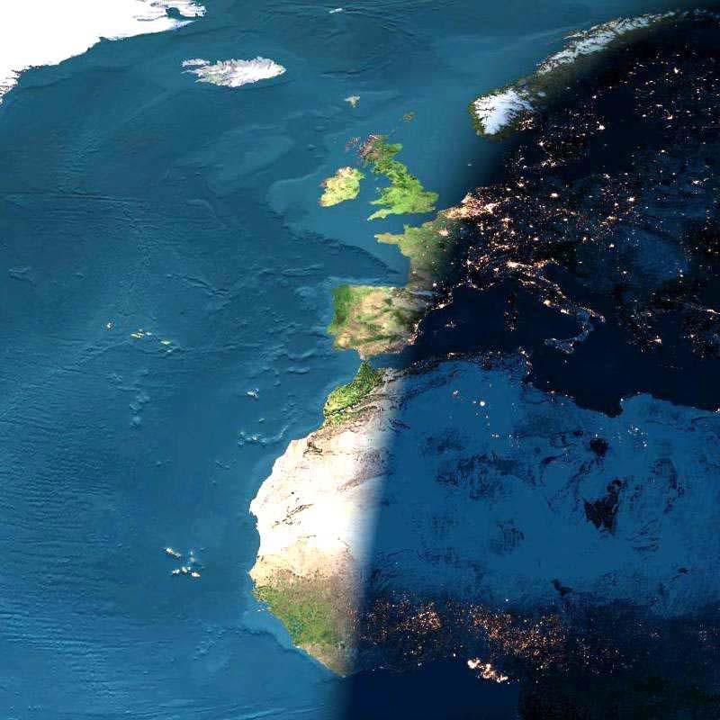 Un coucher de Soleil numérique au-dessus de l\'Europe et de l\'Afrique