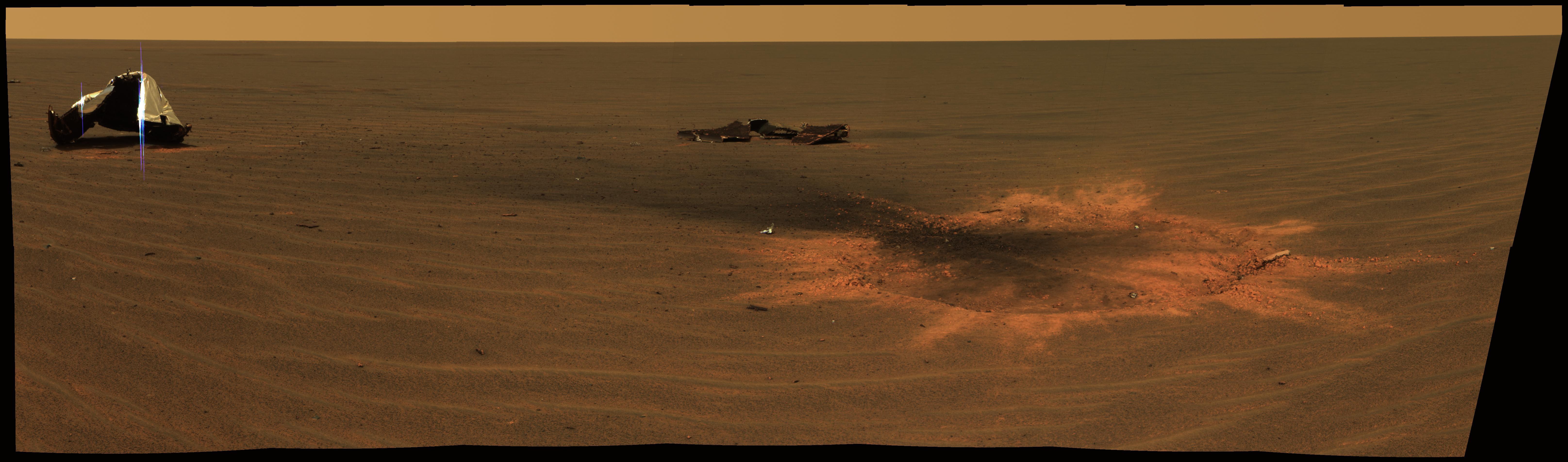 Le cratère d\'impact du bouclier thermique sur Mars