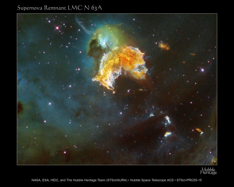 Le rémanent de supernova N63A  se déchaîne