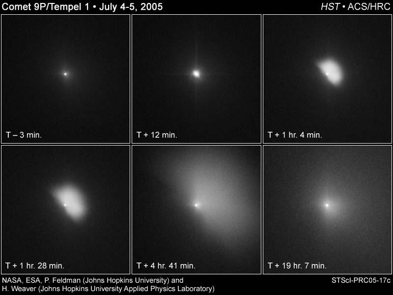 Deep Impact sur la comète Tempel 1 par Hubble