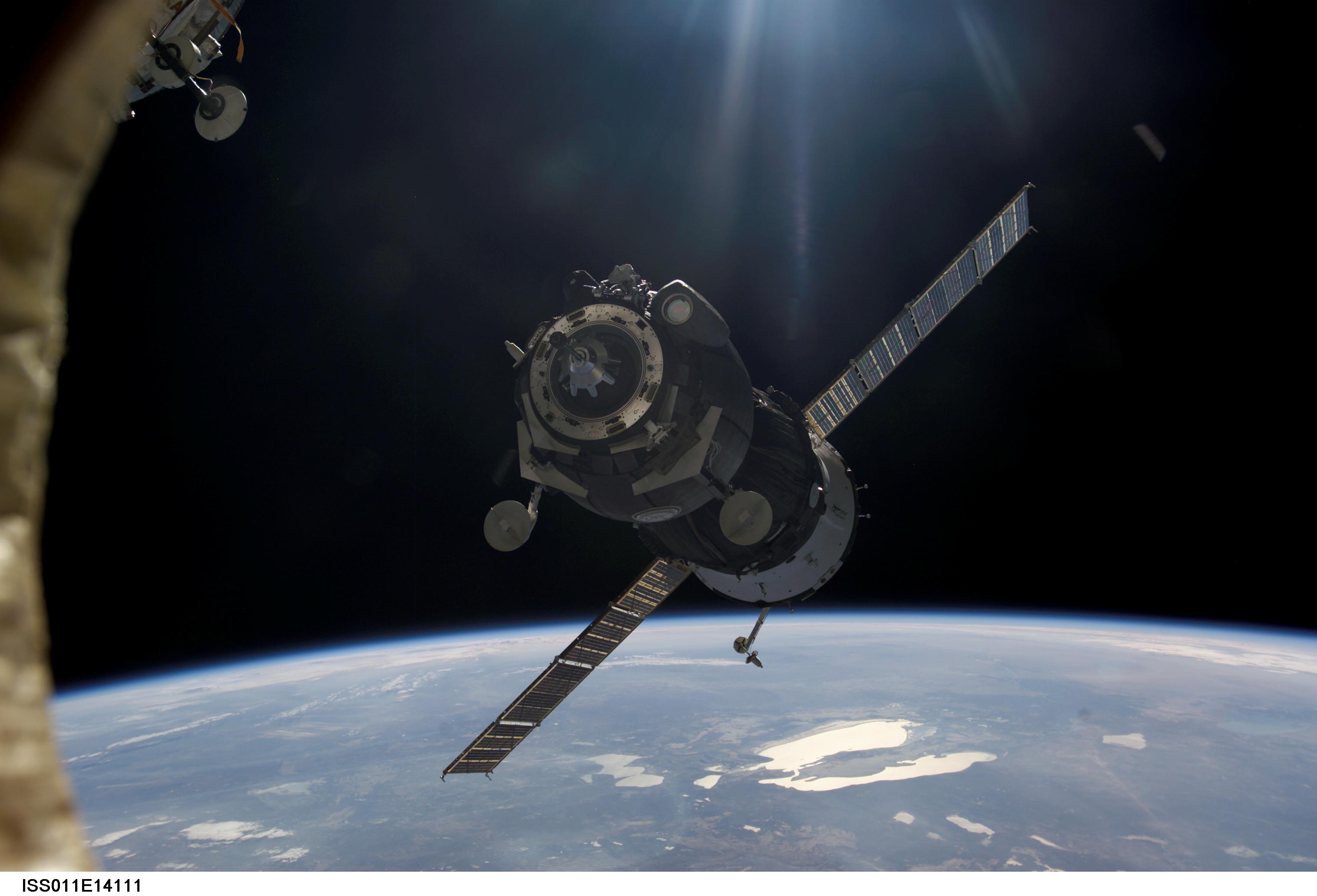 Un vaisseau Soyuz approche de la station spatiale