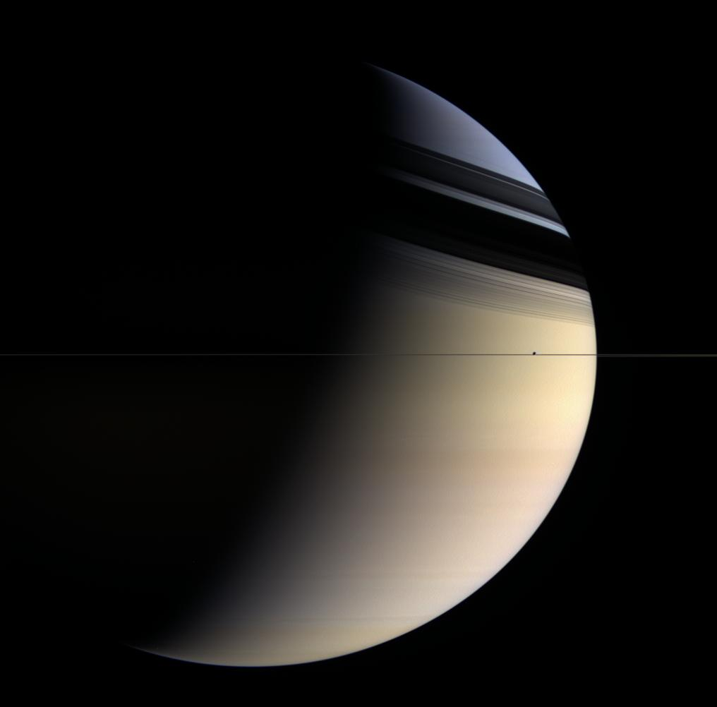 Saturne en bleu et or