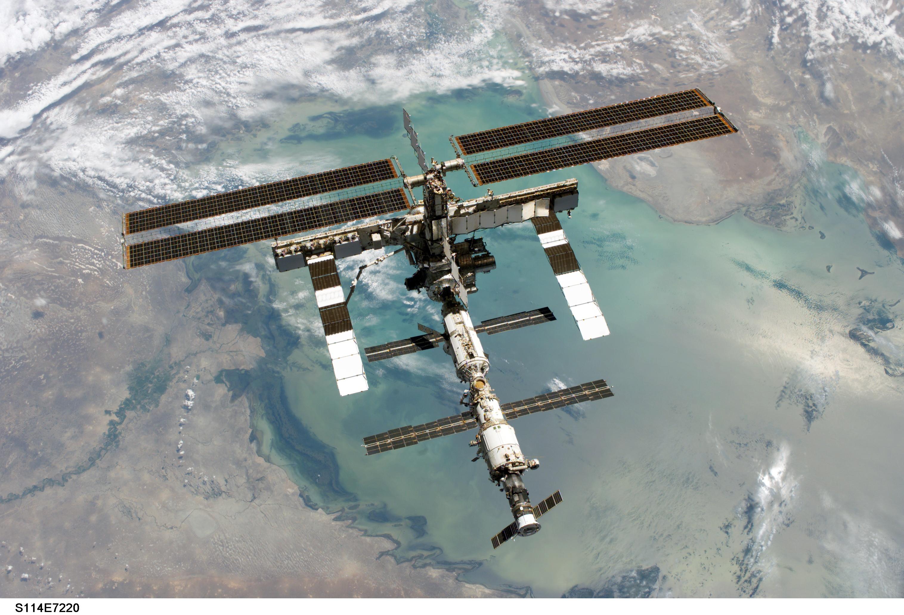 La Station Spatiale Internationale au dessus de la Mer Caspienne