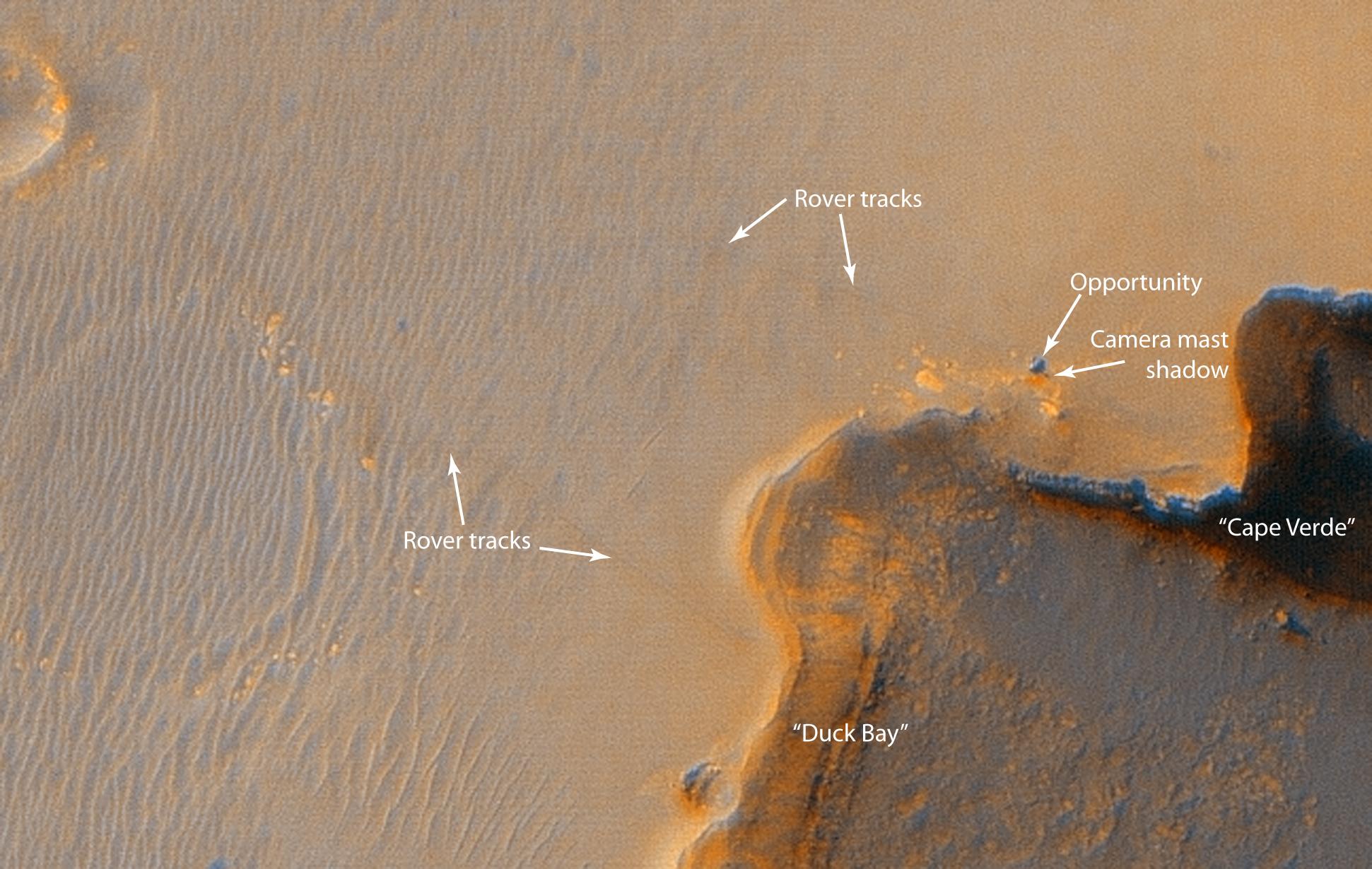 Opportunity sur les bords du cratère Victoria