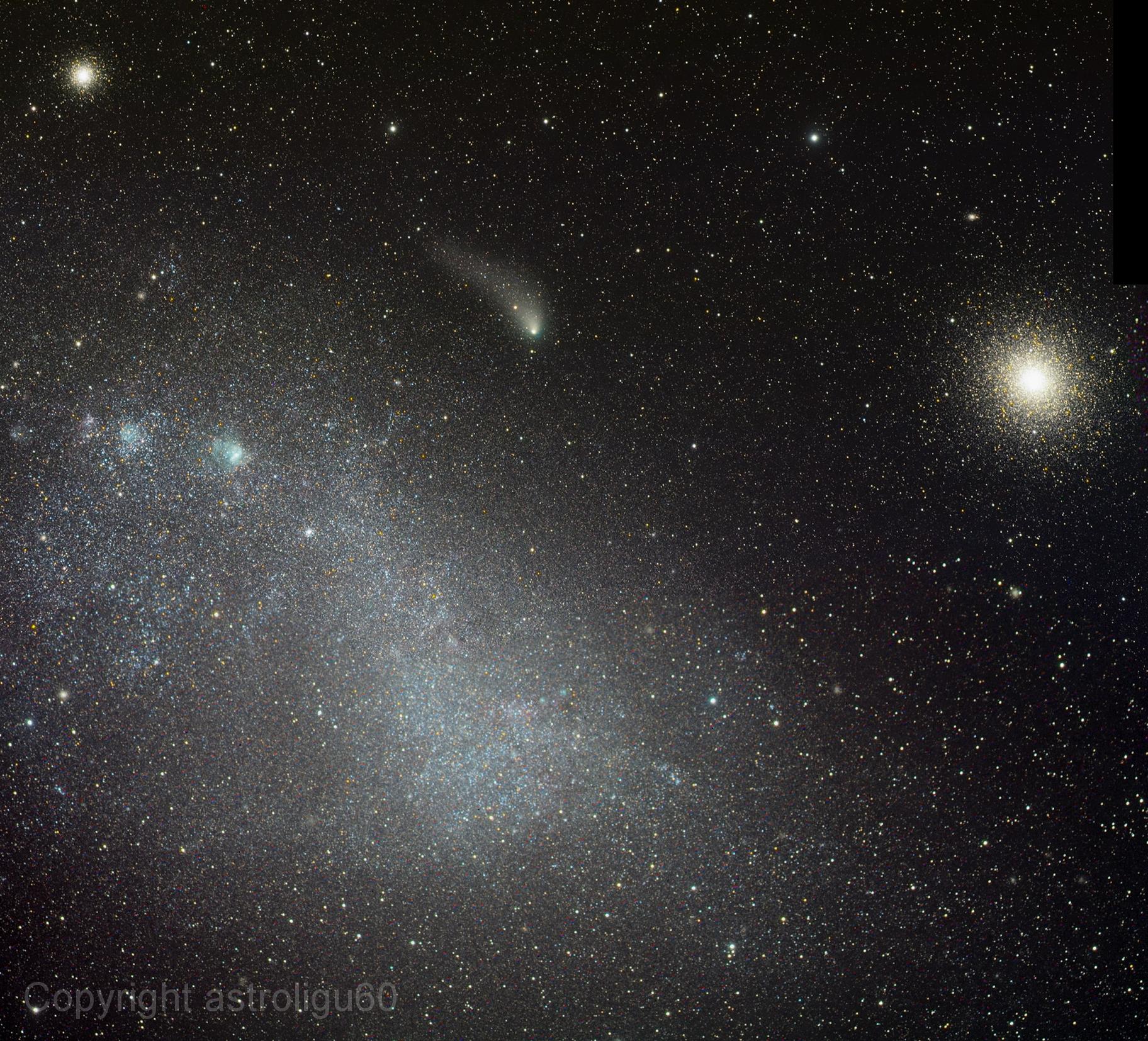 La comète Siding Spring entre amas et Petit Nuage