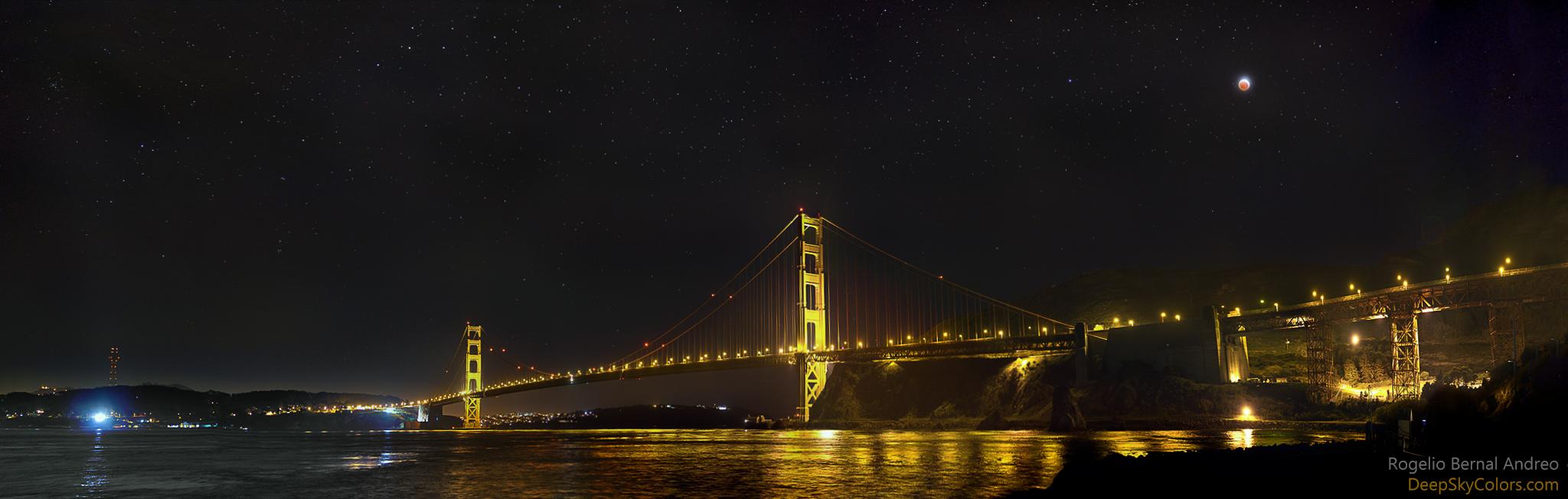 Eclipse de Lune sur le Golden Gate