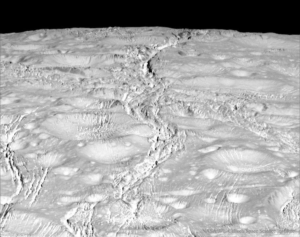Fractures au pôle Nord d\'Encelade