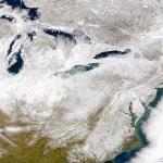 Tempête de neige sur la planète Terre