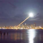 Lever de Lune au-dessus de Seattle