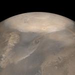 Tempête de poussière de printemps au pôle nord de Mars