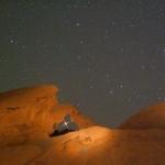 Mars se levant à travers Arch Rock