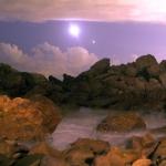 La Lune et Vénus au-dessus de la plage de Corona Del Mar