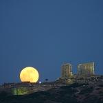 Lever de Lune, Cap Sounion, Grèce -