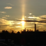 Une colonne solaire dans le ciel du Maine