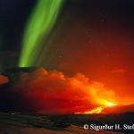 Volcan et aurore en Islande
