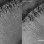 Dépôts clairs signalant un écoulement d'eau sur Mars