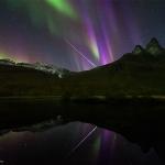 Bolide à l'aurore en Norvège
