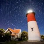 Filé d'étoiles sur le phare de Nauset