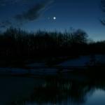Vénus et la Lune au crépuscule