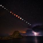 Eclipse de super Lune à l'orage