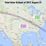 Plan de la bande de totalité de l'éclipse solaire totale d'août 2017