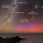 Aurore polaire rouge sur l'Australie