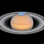 Aurore au pôle nord de Saturne