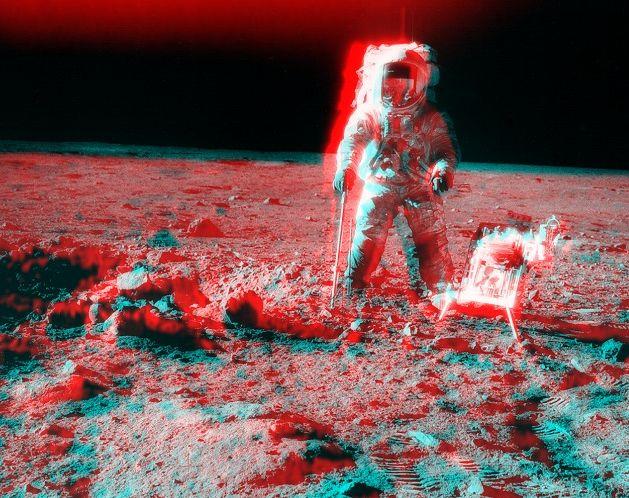Apollo 12 : paysage en stéréo près du cratère Surveyor