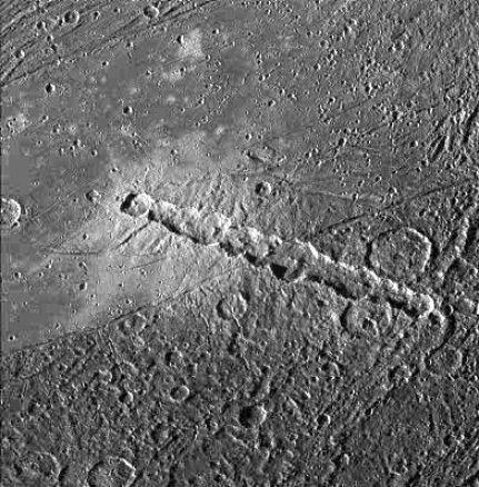 Ganymède : comète en morceaux - chaîne de cratère