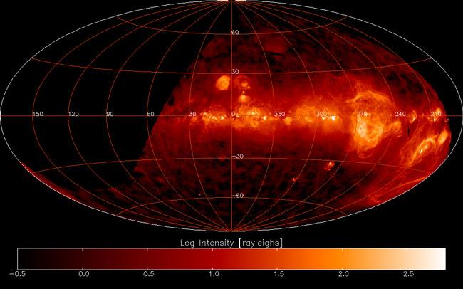 Le ciel austral en hydrogène chaud
