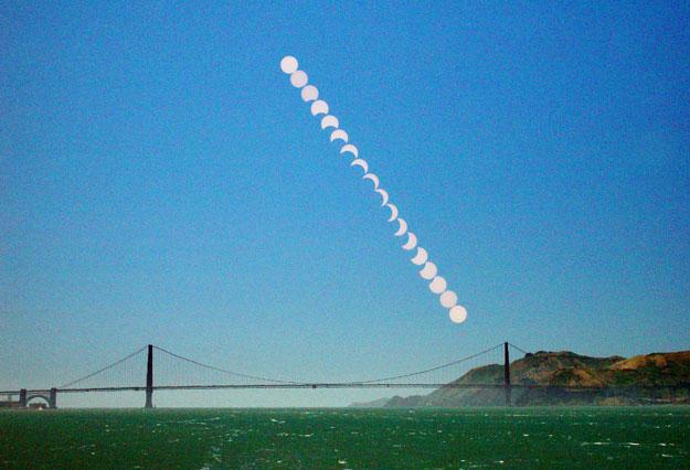 Une éclipse partielle au-dessus du Golden Gate Bridge