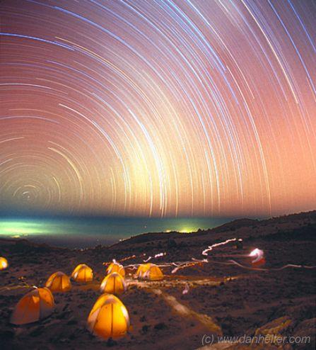 Filés d\'étoiles sur le Kilimandjaro