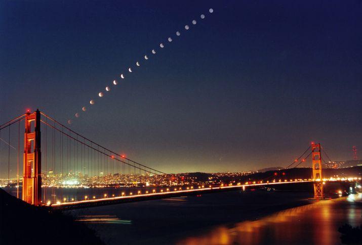 Lune cuivrée, pont doré