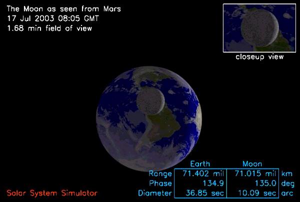 Vue depuis Mars simulée