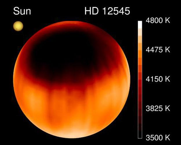 Une tache stellaire géante sur HD 12545