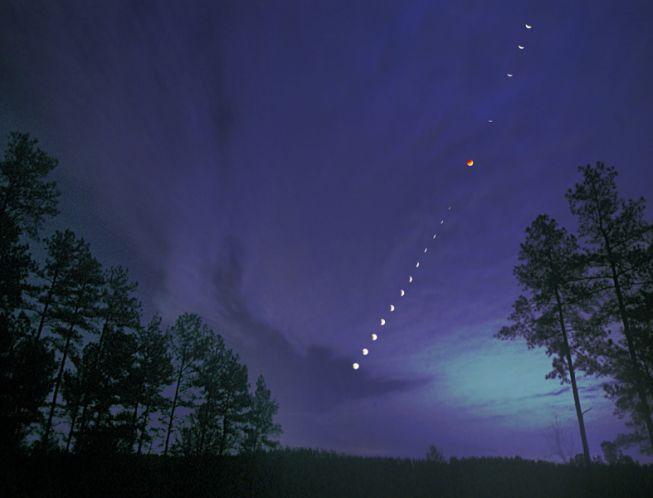 Lumière de la Lune éclipsée à Connelly\'s Springs