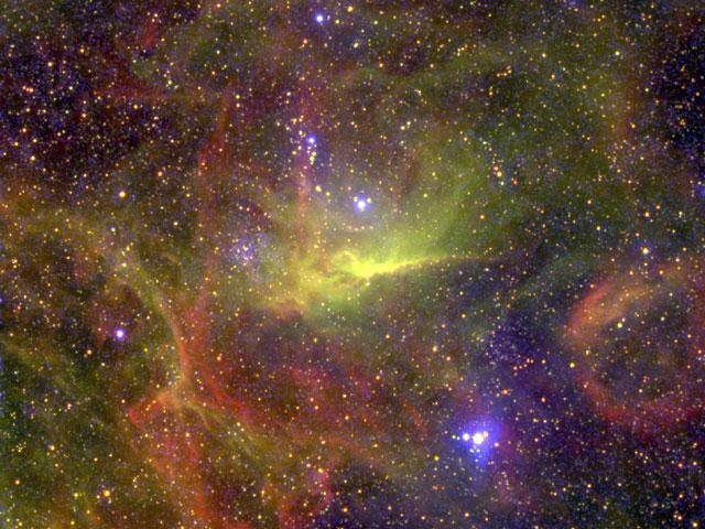 Les nébuleuses entourant la binaire de Wolf-Rayet BAT99-49