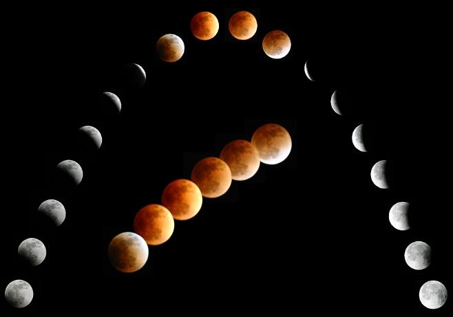 Une mosaïque d\'éclipse lunaire