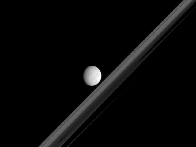 Une lune saturnienne et les anneaux