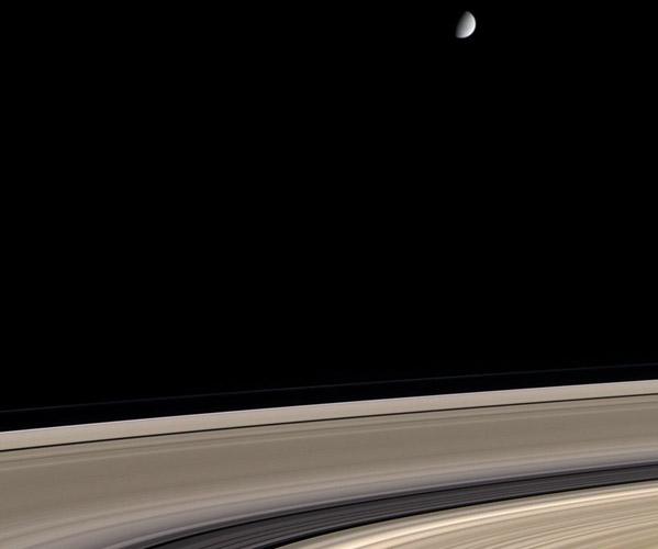 Saturne: anneaux sales et lune propre