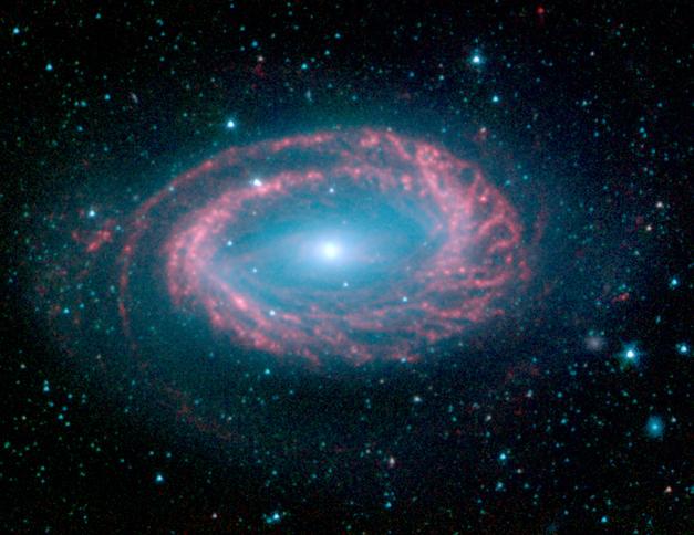 La galaxie spirale NGC4725 mono-bras
