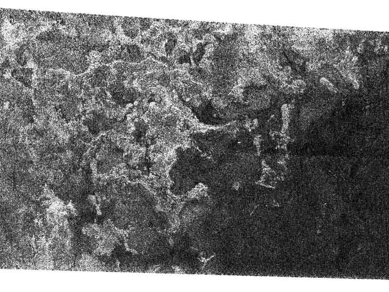 Le rivage de la lune de Saturne Titan